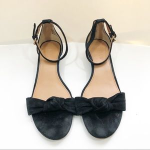 J crew Italy 6.5 black bow knot Demi wedge shoe